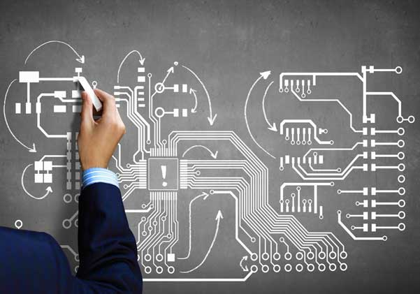 Close up image human hand drawing circuit board